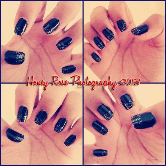 Glittery Black Nails